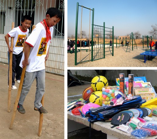 (Left) Sports equipment is in short supply in most rural areas often requiring schools to fashion whatever they can out of available materials, in this case. stilts made from bamboo stalks. (Top) Playground equipment and ping pong tables supplied to the project schools in Shaanxi Province. (Bottom) Sports equipment selected for CSF project schools include basketballs, volley balls, soccer (football) balls, frisbees, table tennis and badminton equipment, roller skates and jump ropes.