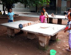Ping pong tables in rural China are mostly the product of ingenuity