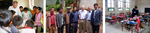 (Left) CSF's Ben Frankel with students at primary school in Yunnan Province. (Center) Visit with teachers at primary school in remote part of Yunnan Province. (Right) Classroom, pre-renovation, in Shaanxi Provence, site of ongoing CSF project.