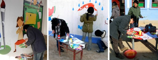 Students from Xi'an Institute of Art volunteered to do art projects with the children and painted murals on the school walls