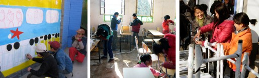 Fostering the spirit of community cooreration, volunteer staff and workers from the corporate sponsor, Shaanxi Fuping Cement Co., together with teachers, students and CSF staff helped assemble new furniture and work on the muralsat each of the four project schools.